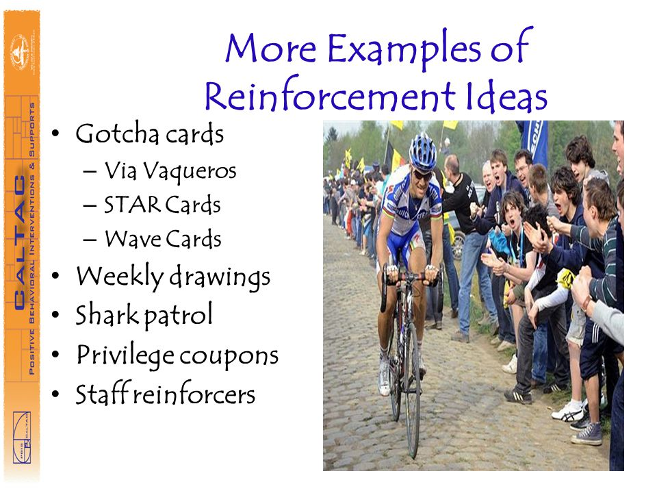 More Examples of Reinforcement Ideas