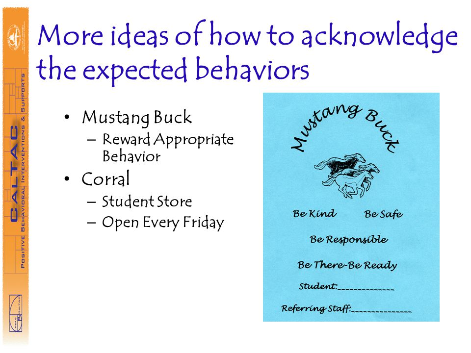 More ideas of how to acknowledge the expected behaviors