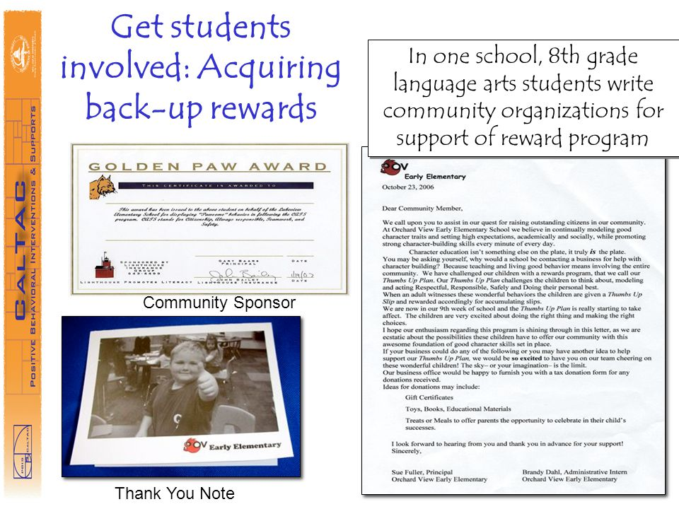 Get students involved: Acquiring back-up rewards