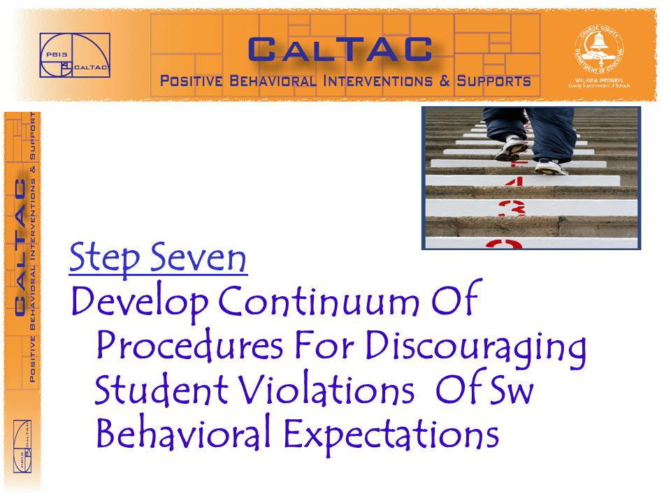 STEP 3 Step Seven. Develop Continuum Of Procedures For Discouraging Student Violations Of Sw Behavioral Expectations.