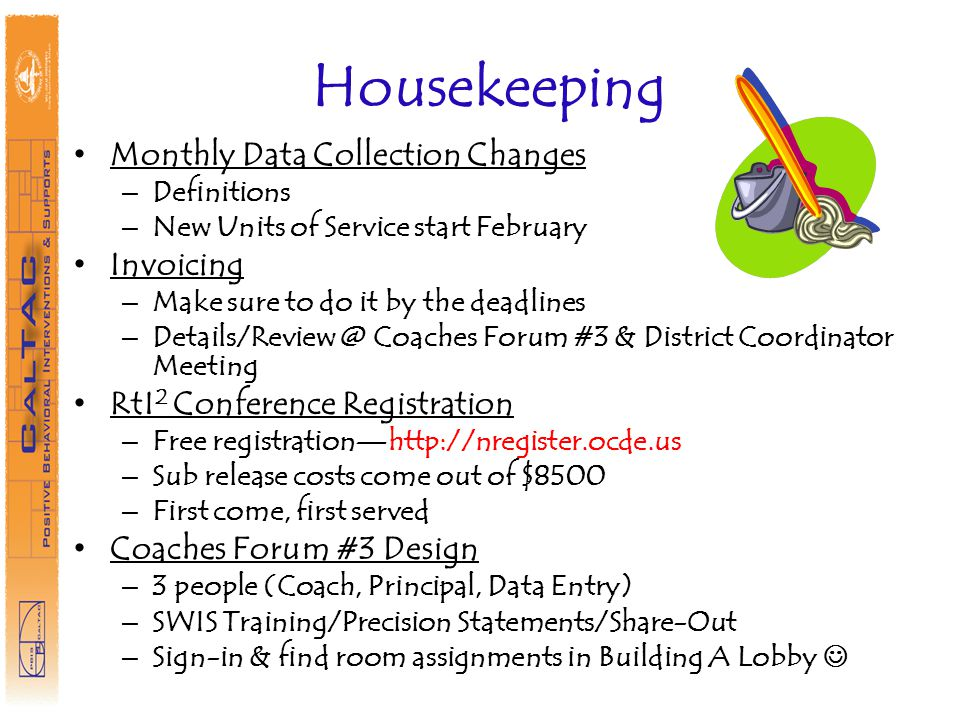 Housekeeping Monthly Data Collection Changes Invoicing