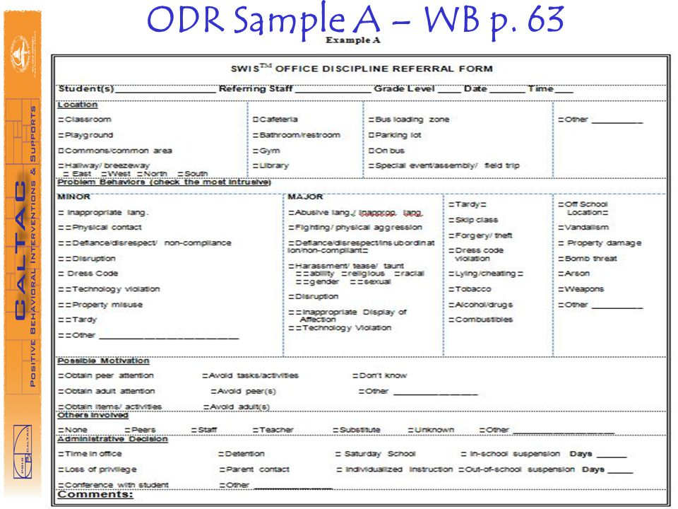 ODR Sample A – WB p. 63 Have people look into Step 7 Handouts—similar samples are in there…