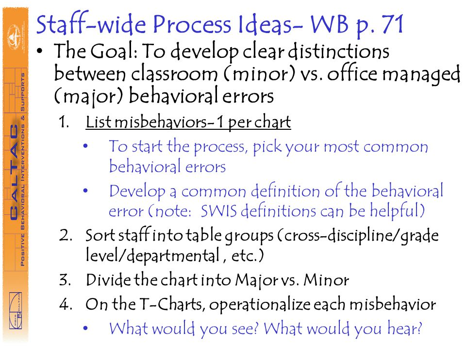 Staff-wide Process Ideas- WB p. 71