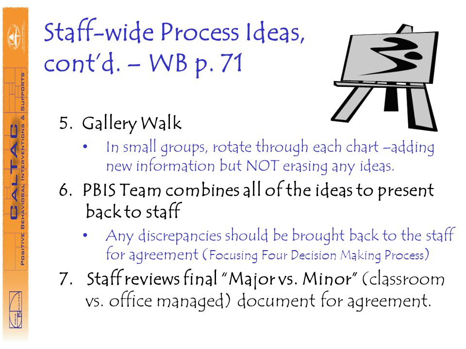 Staff-wide Process Ideas, cont'd. – WB p. 71
