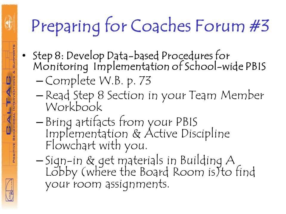 Preparing for Coaches Forum #3