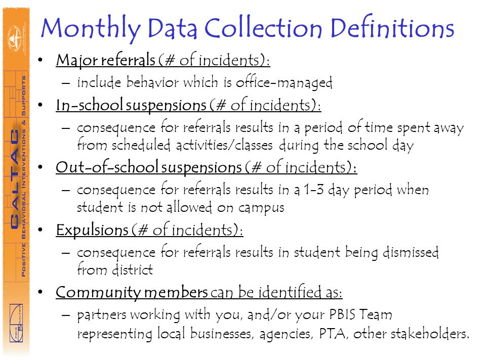 Monthly Data Collection Definitions