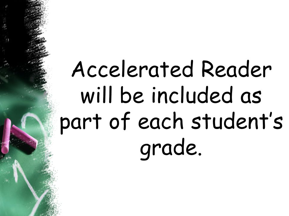 Accelerated Reader will be included as part of each student's grade.