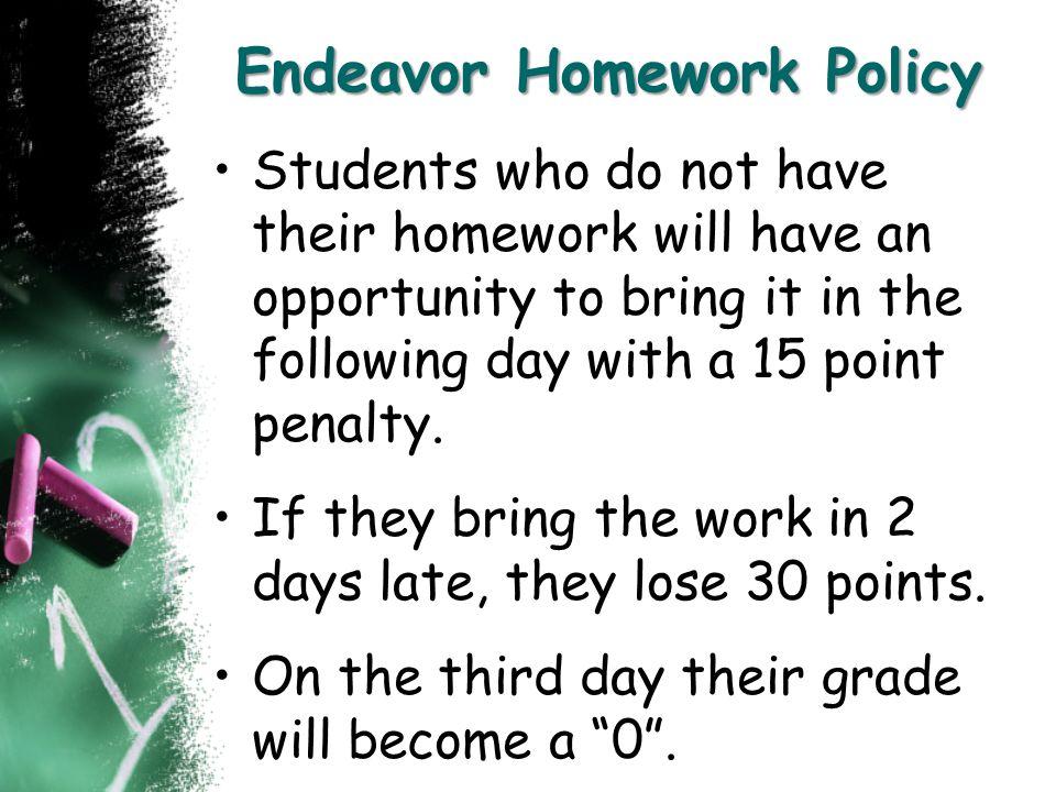 Endeavor Homework Policy
