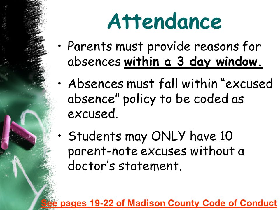 Attendance Parents must provide reasons for absences within a 3 day window.