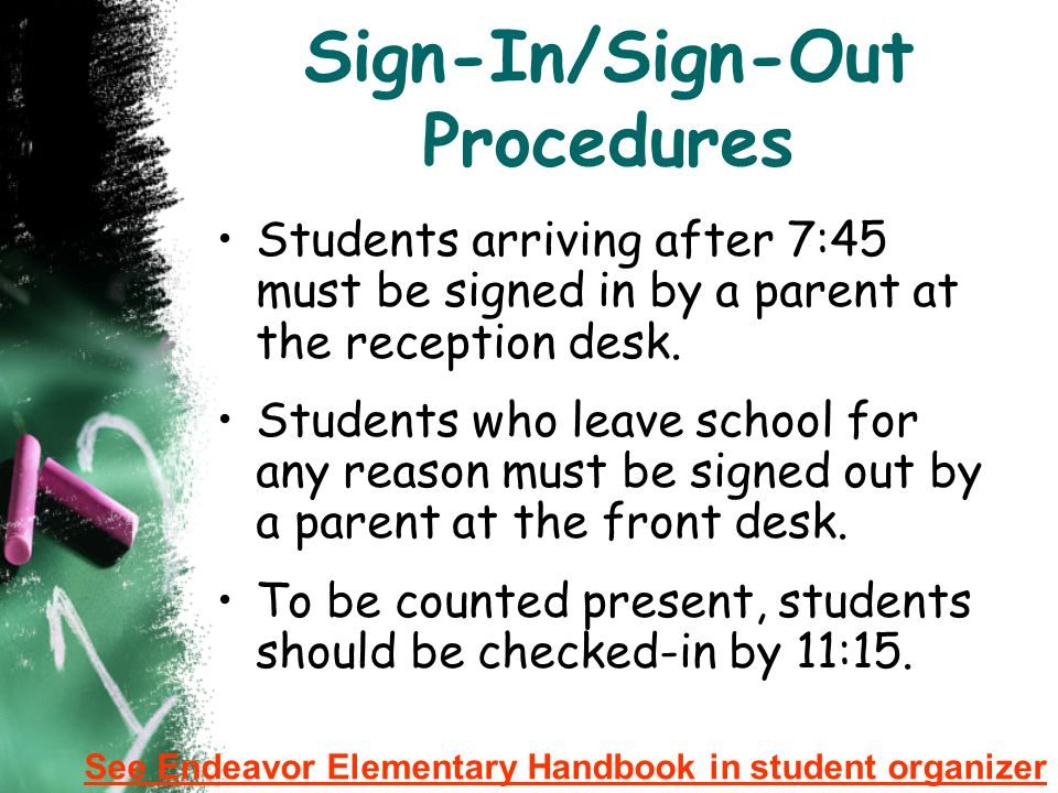 Sign-In/Sign-Out Procedures