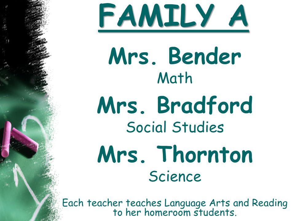 FAMILY A Mrs. Bender Mrs. Bradford Mrs. Thornton Math Social Studies