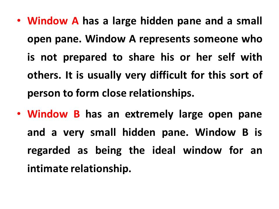 Window A has a large hidden pane and a small open pane
