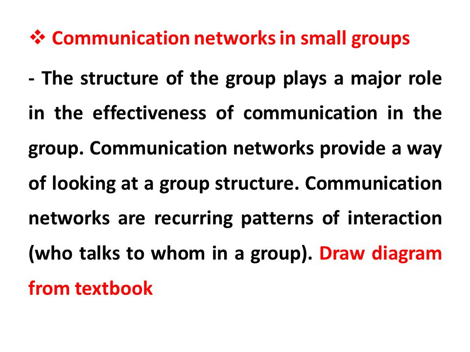 Communication networks in small groups