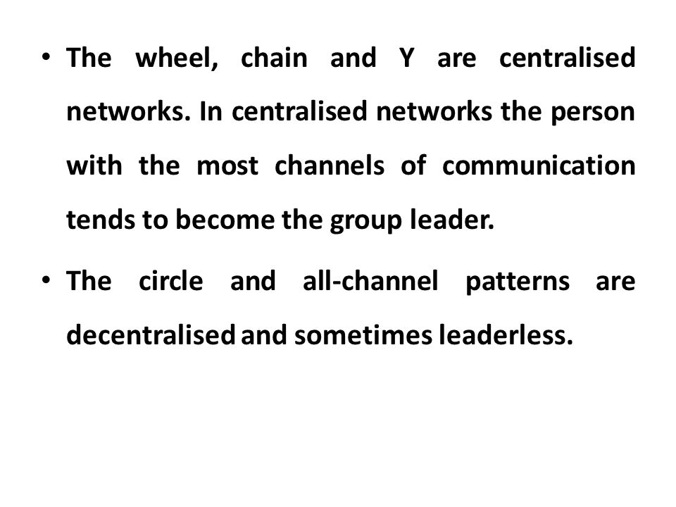 The wheel, chain and Y are centralised networks