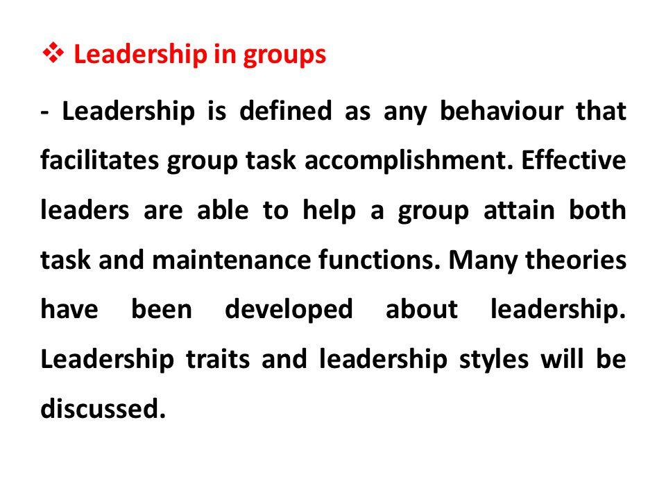 Leadership in groups