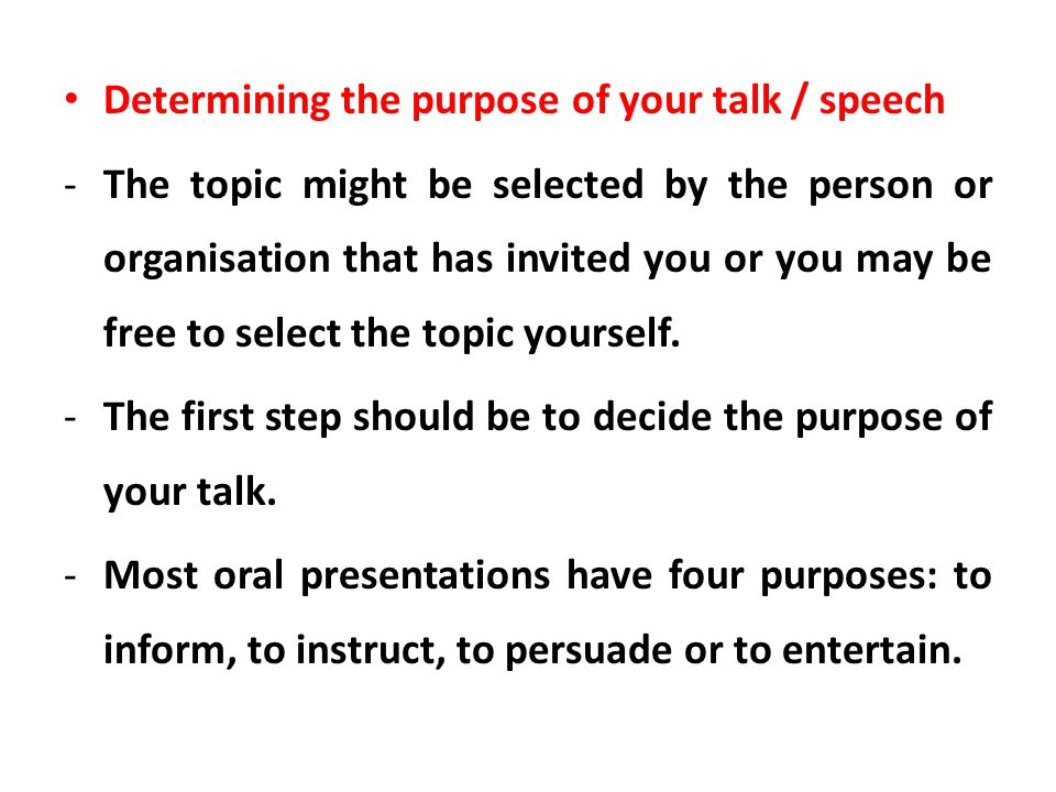 Determining the purpose of your talk / speech