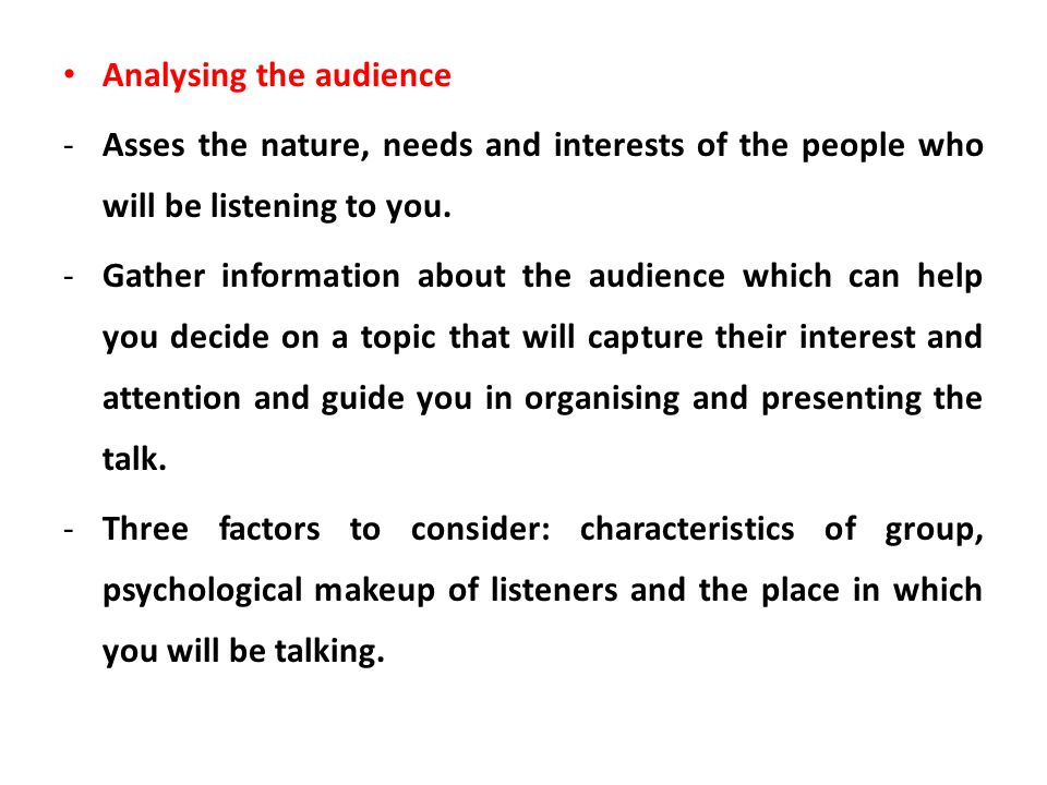 Analysing the audience