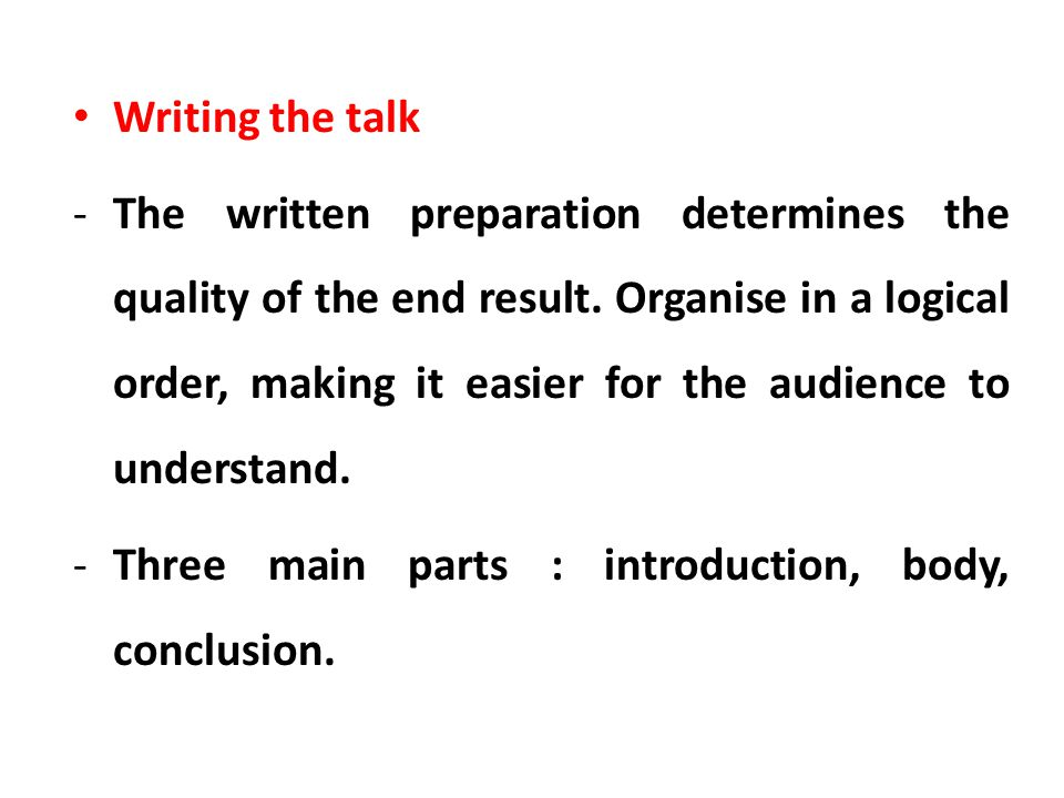 Writing the talk