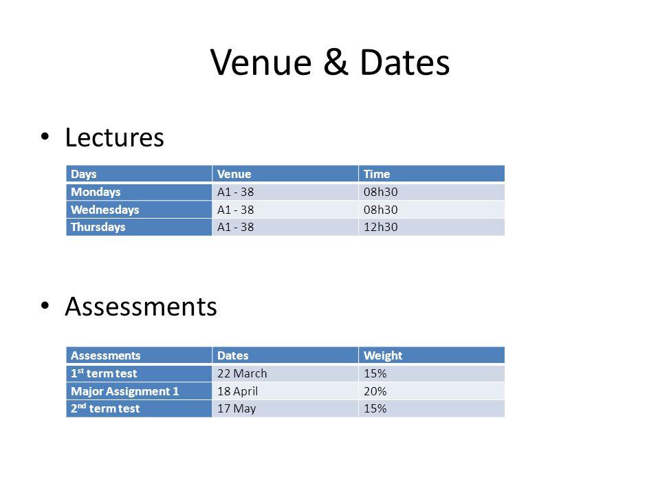 Venue & Dates Lectures Assessments Days Venue Time Mondays A1 - 38