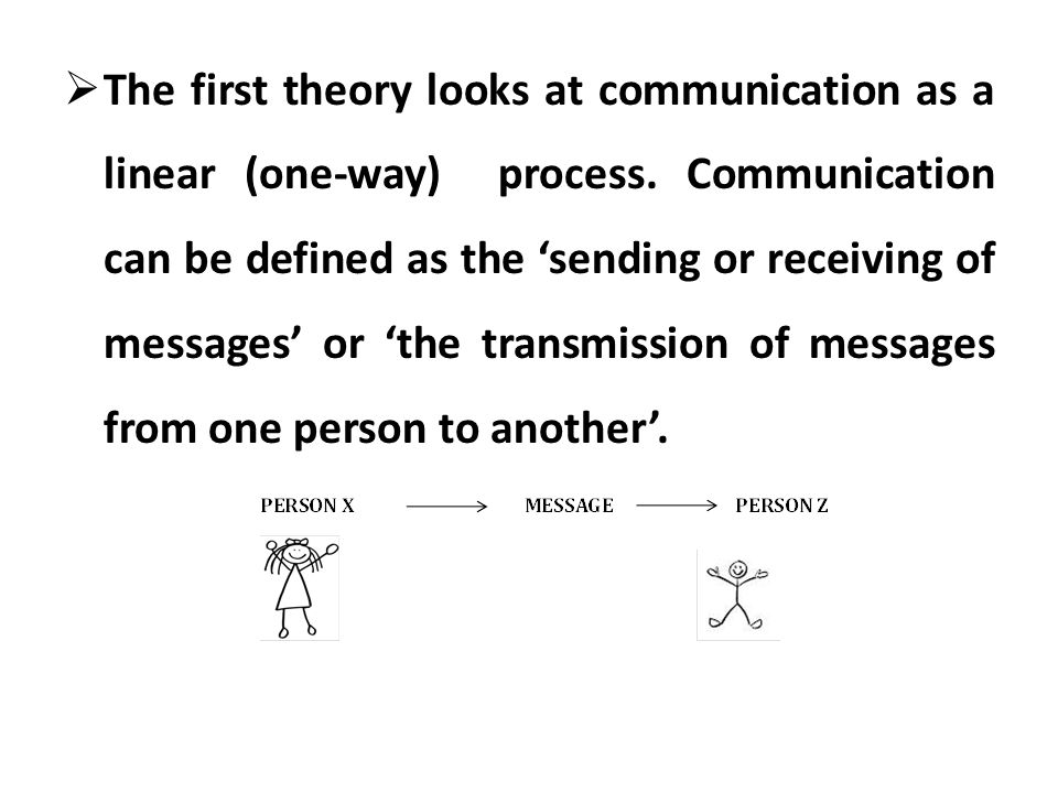 The first theory looks at communication as a linear (one-way) process