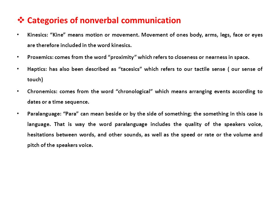 Categories of nonverbal communication
