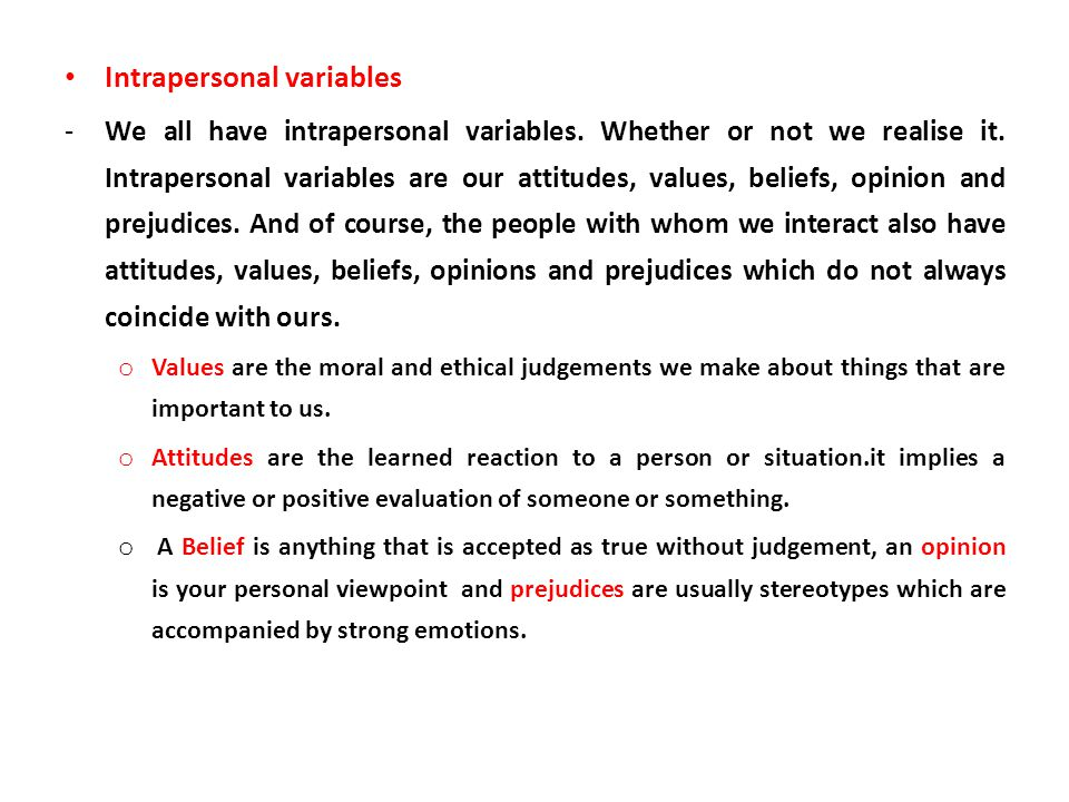 Intrapersonal variables