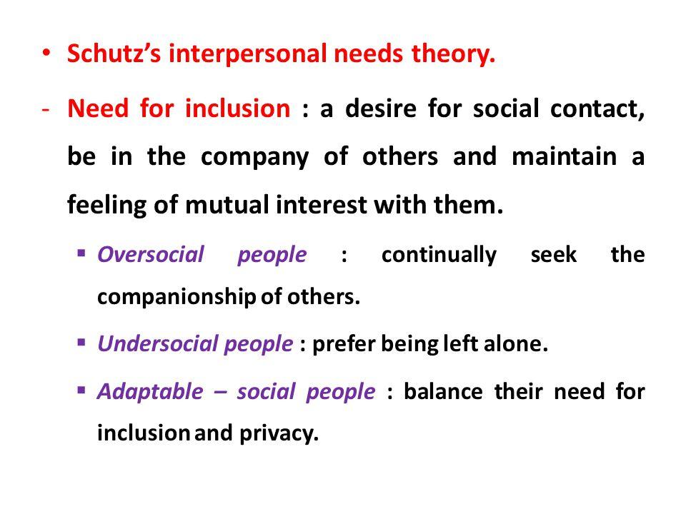 Schutz's interpersonal needs theory.