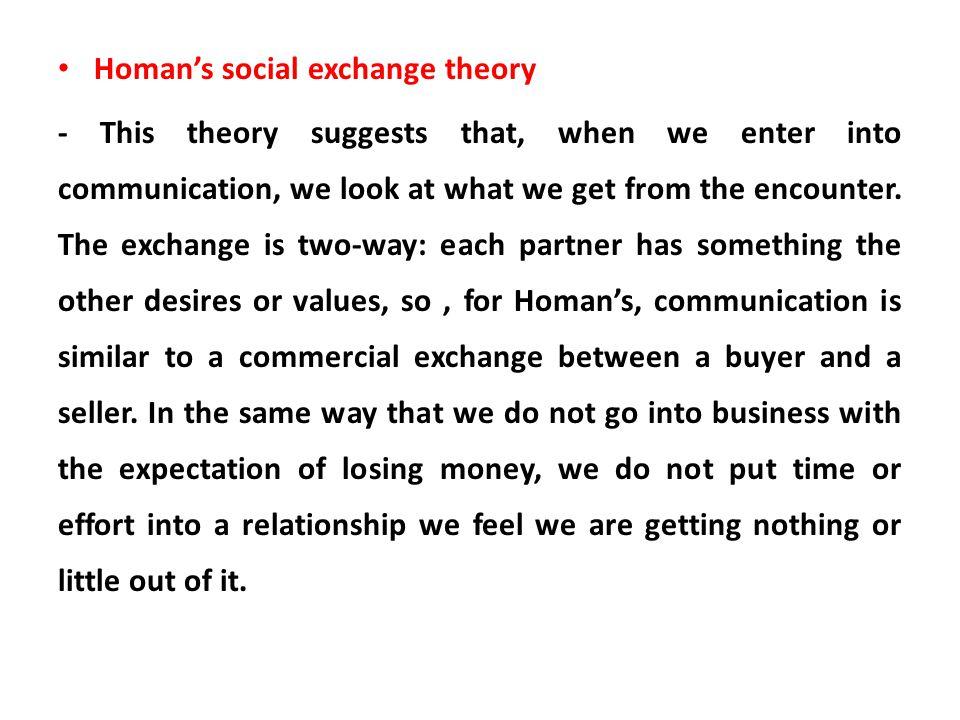 Homan's social exchange theory