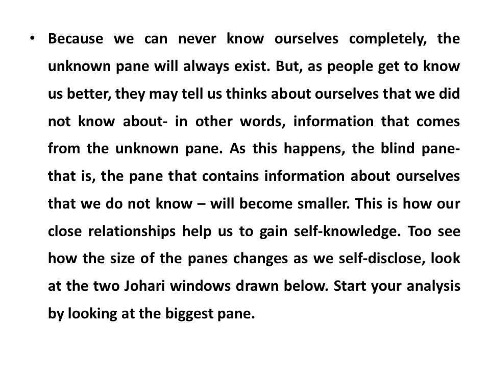 Because we can never know ourselves completely, the unknown pane will always exist.