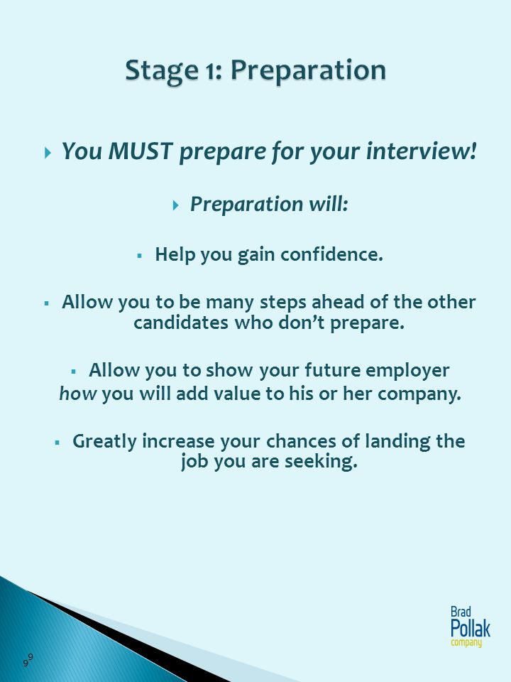 Stage 1: Preparation You MUST prepare for your interview!