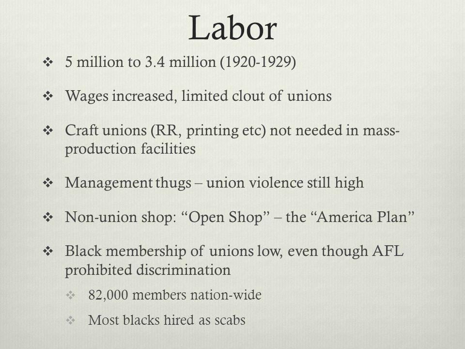 Labor 5 million to 3.4 million (1920-1929)
