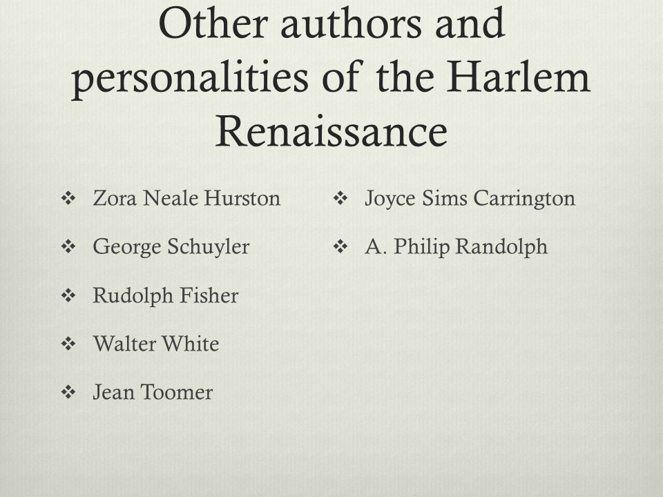 Other authors and personalities of the Harlem Renaissance
