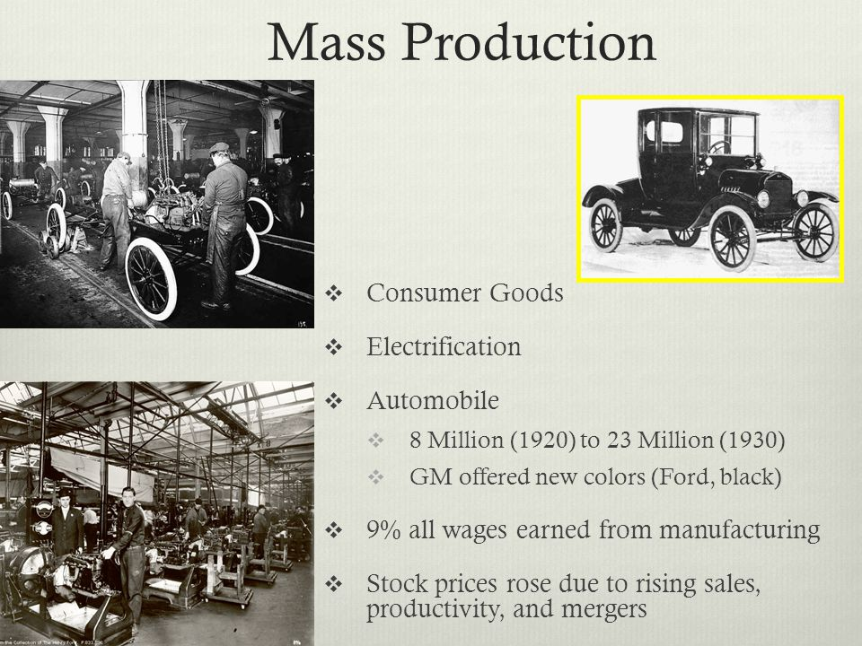 Mass Production Consumer Goods Electrification Automobile