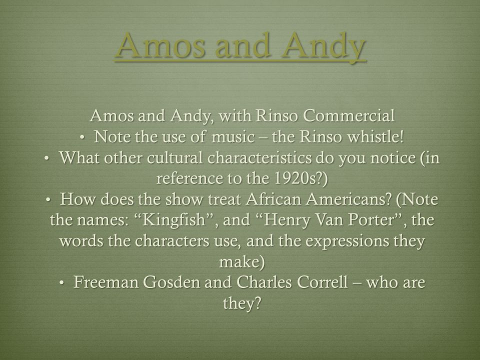 Amos and Andy Amos and Andy, with Rinso Commercial
