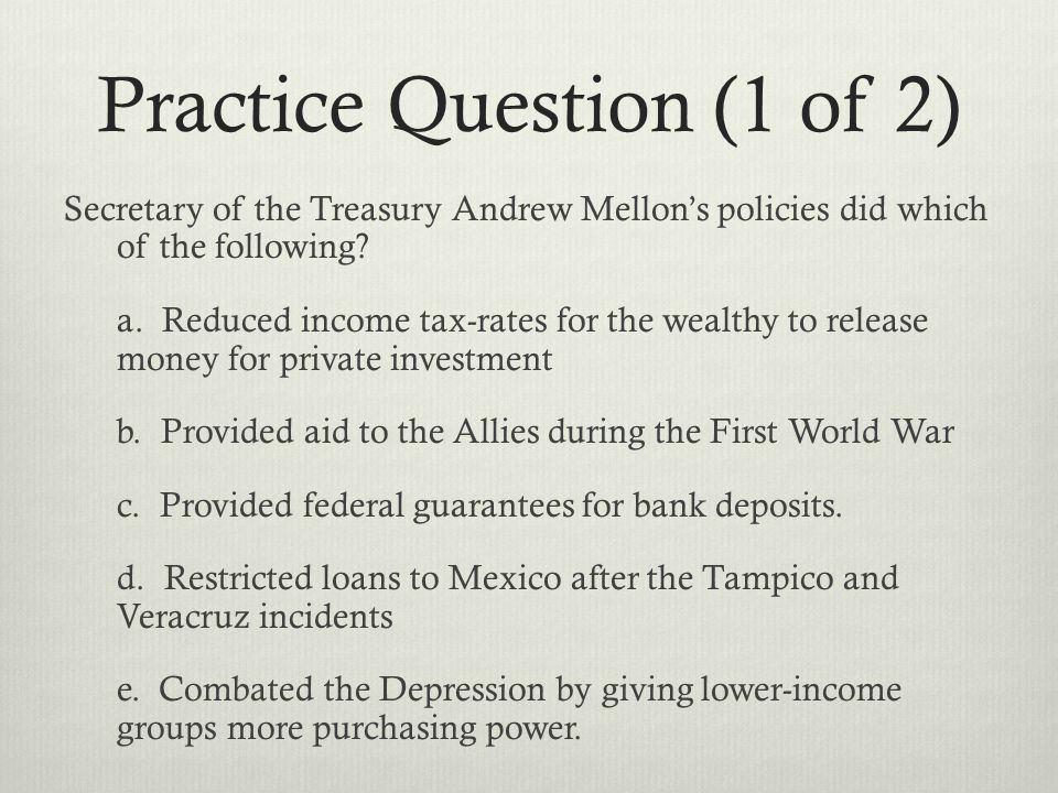 Practice Question (1 of 2)