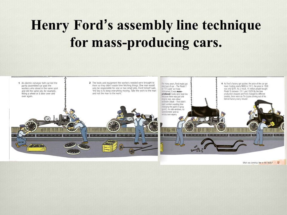 Henry Ford's assembly line technique for mass-producing cars.