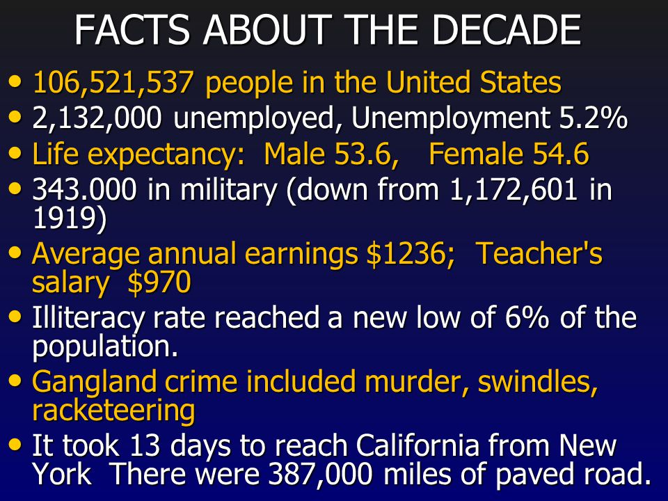 FACTS ABOUT THE DECADE 106,521,537 people in the United States