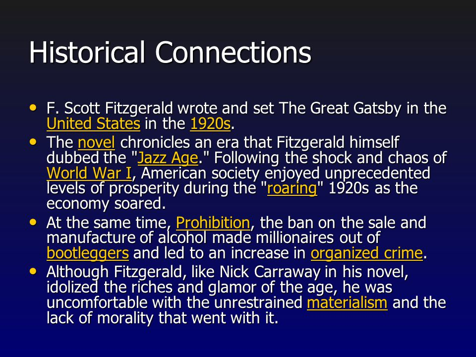 The Great Gatsby, Prohibition, and Fitzgerald