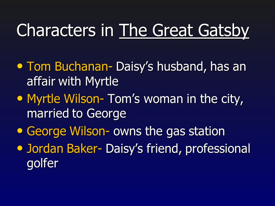 Characters in The Great Gatsby