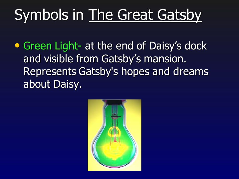 the symbolism in the great gatsby Gatsby throws excessively extravagant parties as evidenced by the number of guests, the lights, the food and the entertainment for example, the juice from two hundred oranges is extracted every week for his parties.