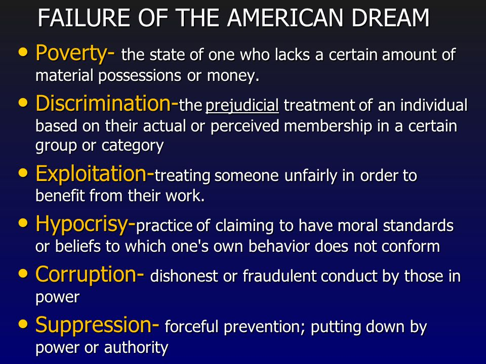 the failure of gatsbys american dream In francis scott fitzgerald's great gatsby, the american dream is  the thing  they failed to obtain was happiness because of their lack of moral.