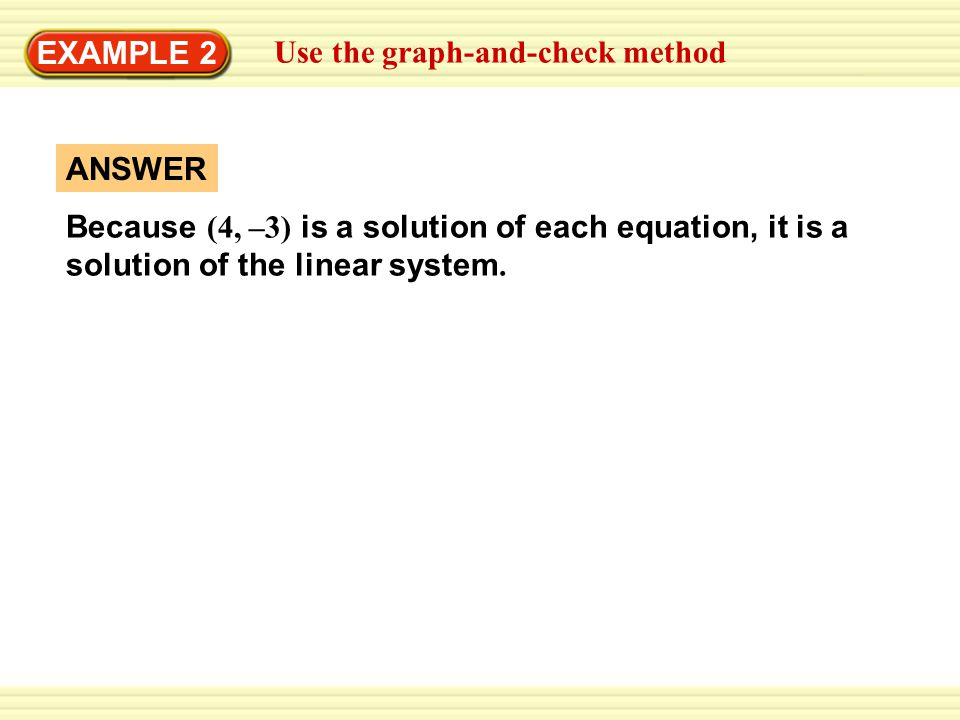 EXAMPLE 2 Use the graph-and-check method. ANSWER.