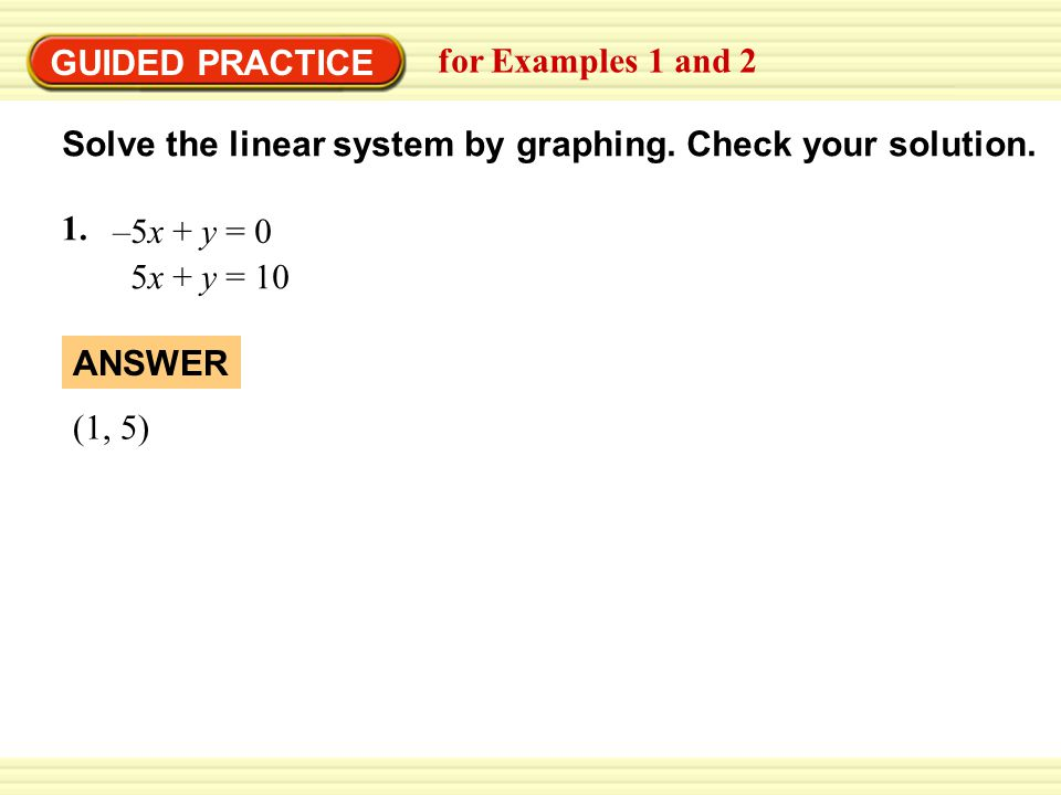 EXAMPLE 2 GUIDED PRACTICE. Use the graph-and-check method. for Examples 1 and 2. Solve the linear system by graphing. Check your solution.