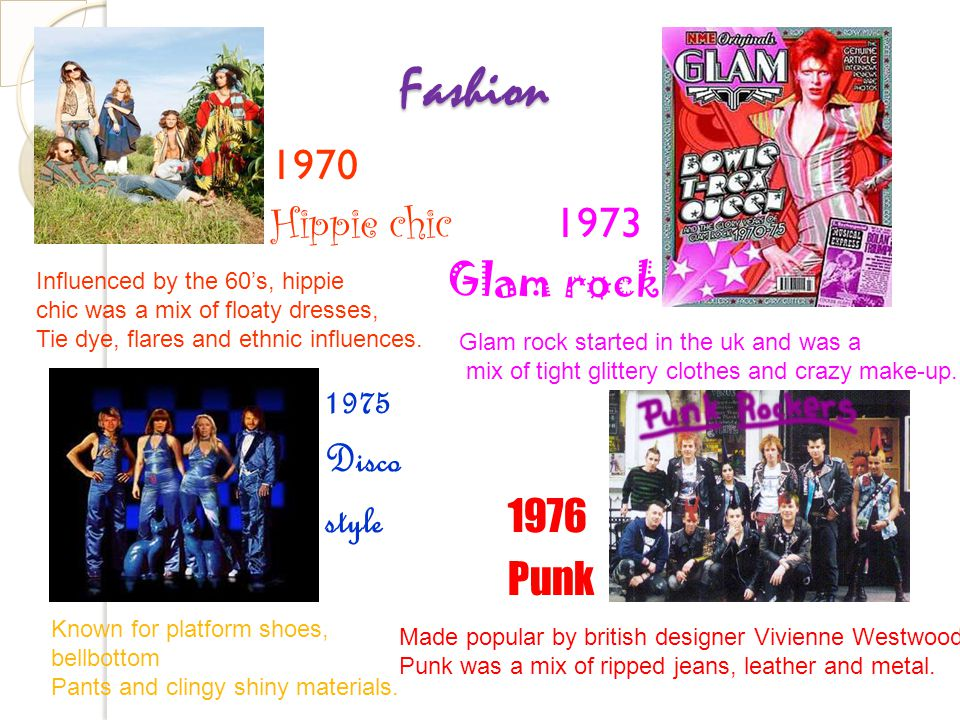 Fashion 1970 Hippie chic 1973 Glam rock 1975 Disco style 1976 Punk