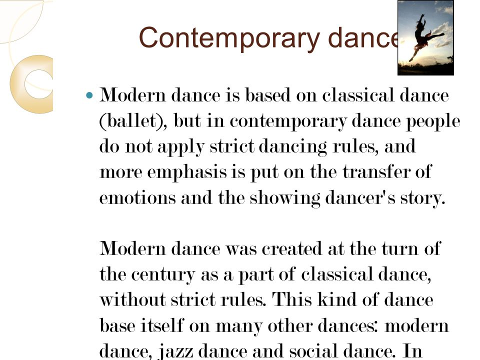 6 Contemporary dance.