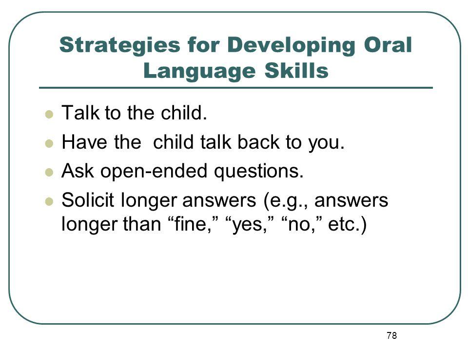 Strategies for Developing Oral Language Skills