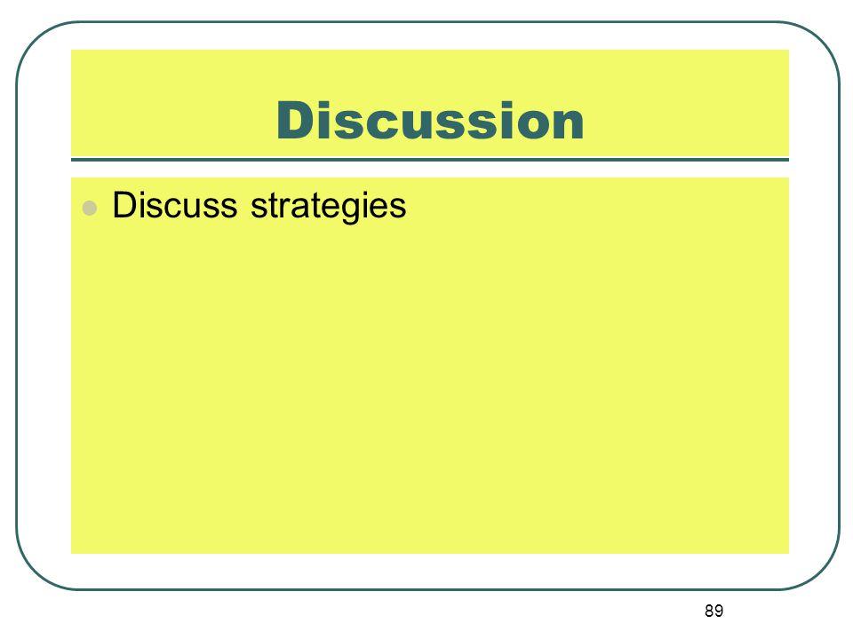 Discussion Discuss strategies