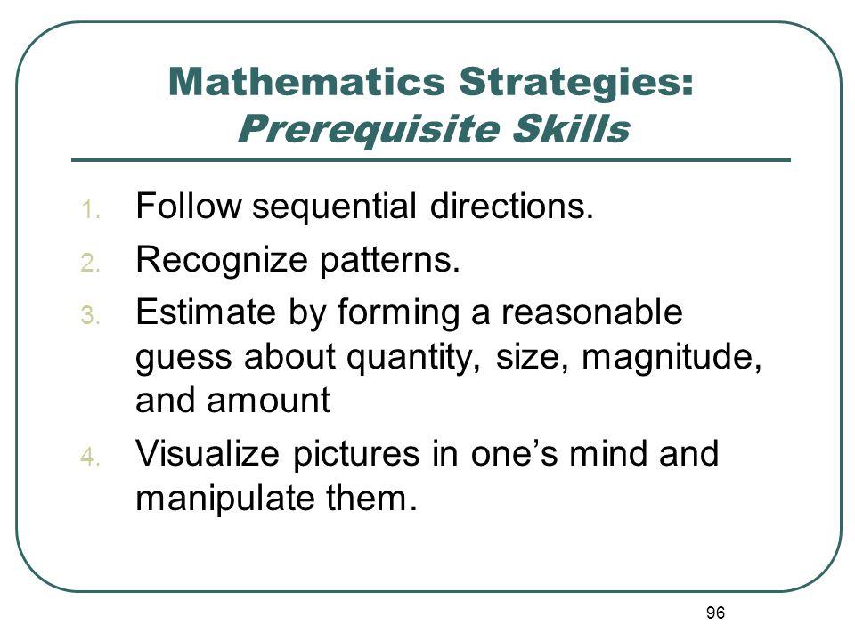 Mathematics Strategies: Prerequisite Skills