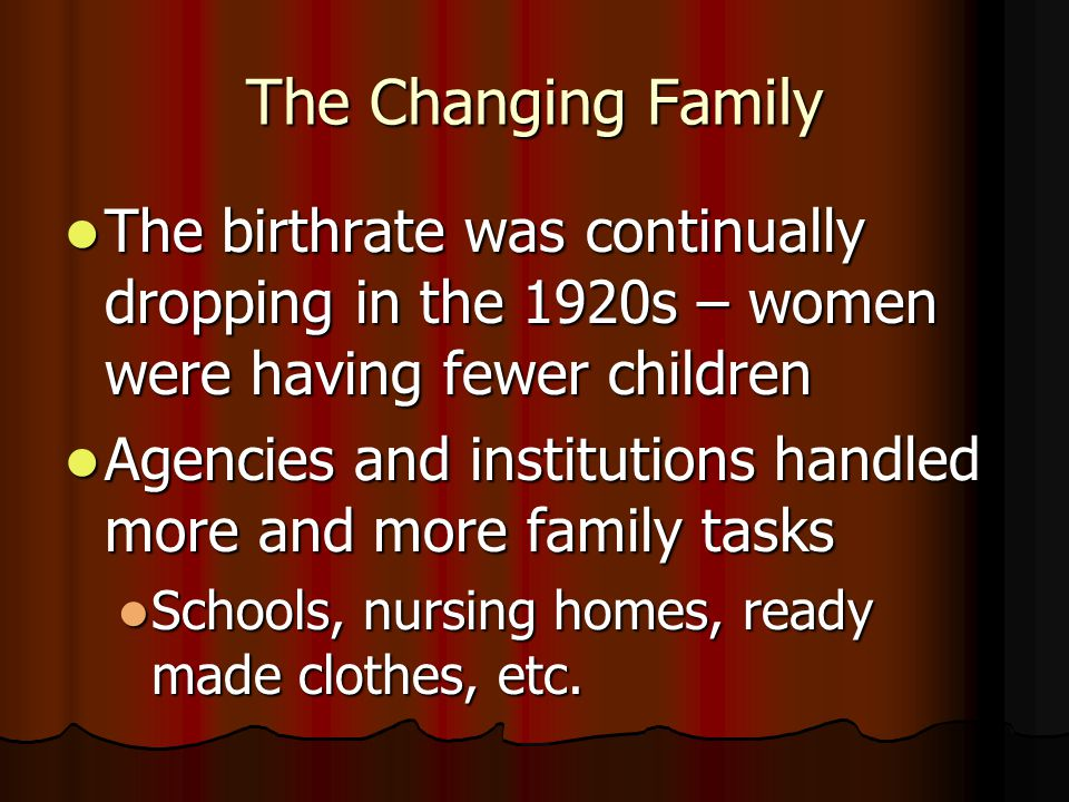 The Changing Family The birthrate was continually dropping in the 1920s – women were having fewer children.