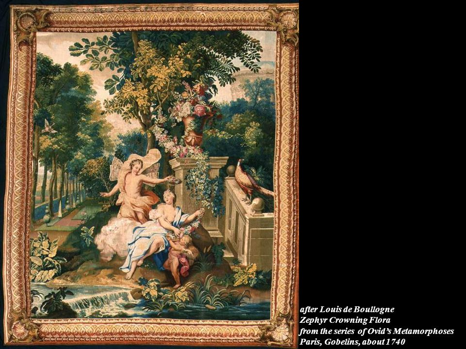 after Louis de Boullogne Zephyr Crowning Flora from the series of Ovid's Metamorphoses Paris, Gobelins, about 1740